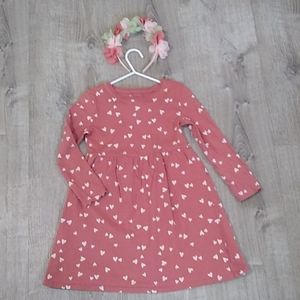 Old Navy 5T hearts dress mauve pink long sleeve